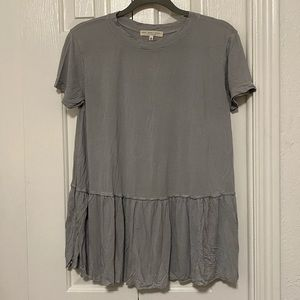 UO Truly Madly Deeply Light Gray Peplum Top